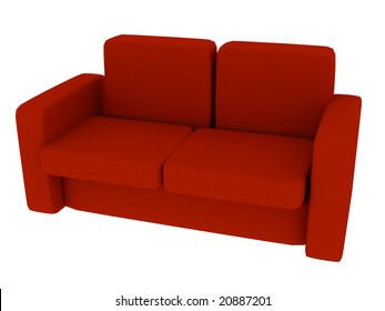 3d render of sofa, isolated on white background