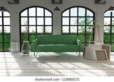 3d render of sofa in modern apartment setting