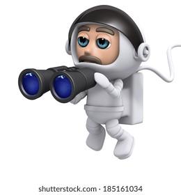 3d render of a spaceman holding a pair of binoculars