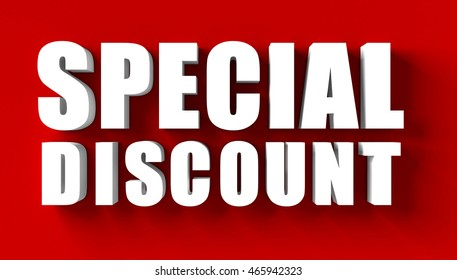 3d render of  special discount in red blackground