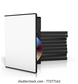 3d render of stack of dvd boxes with disc