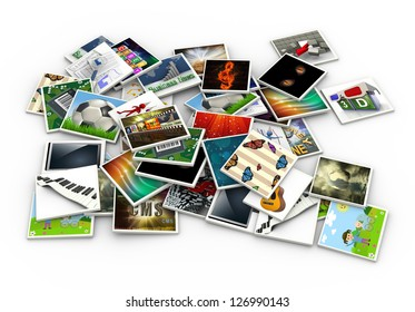 3d render of stack of heap of photos and pictures