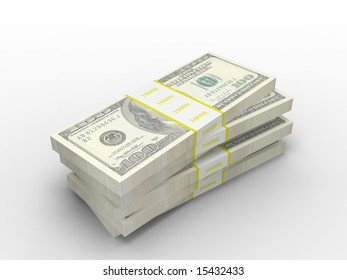 3d render stack of one hundred dollar