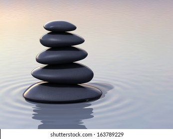 3d render stacking zen stones on water close-up