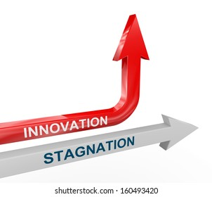 3d render of stagnation and changing upward innovation arrow. Concept of change, innovation, creativity, out of box thinking.
