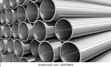 3D render of steel pipes