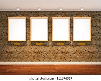 3d render of stone wall with four spot lights and  three picture frames, realistic wooden floor