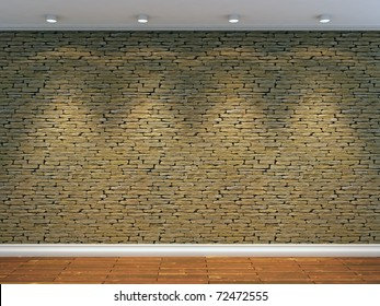 3d render of stone wall with four spot lights