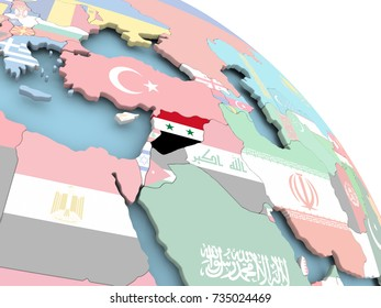 3D render of Syria with flag on bright globe. 3D illustration.