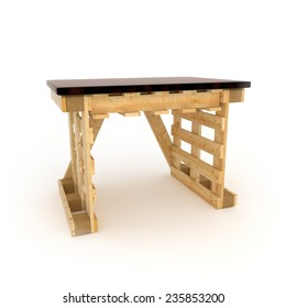 3D render table with pallets