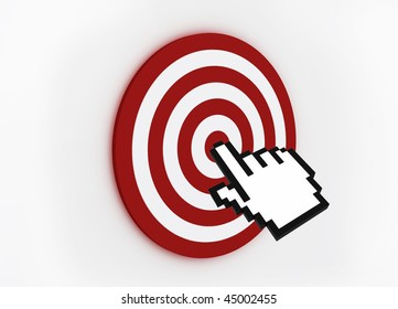 3D Render of Target with hand cursor isolated on white
