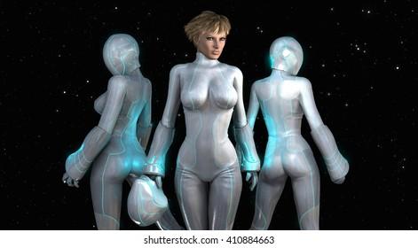 3d render of tech girls