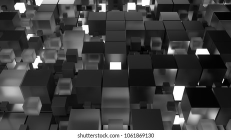 3d render technology background. Abstract structure with cubes forms. Different element materials. Straight structure with repetitive cubes. Tech concept.
