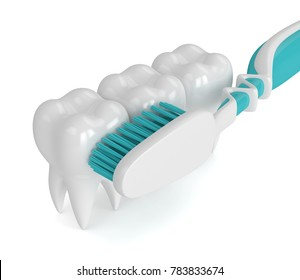 3d render of teeth with toothbrush over white background