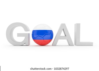 3d render - The text goal in grey on a white background. The zero is represented by a football in the typical national colours of the Russian Federation.