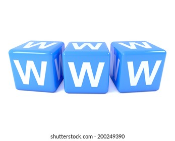 """3d render of three blue dice spelling the acronym """"WWW"""""""