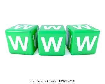 3d render of three dice spelling WWW