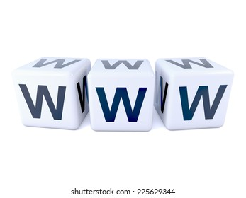 3d render of three white dice marked with the letters WWW world wide web