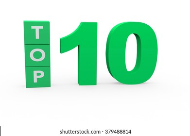 3d render Top 10 on a white background.