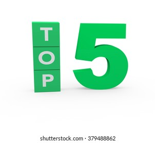 3d render Top 5 on a white background.