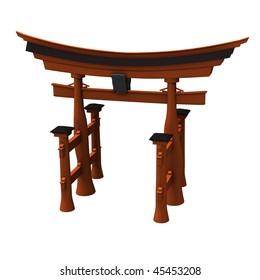 3d render of torii gate