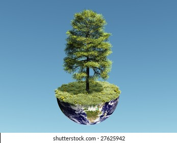 3d render of a tree standing on a dissected Earth globe