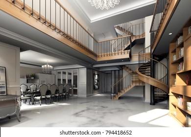 3d render of triplex house interior view