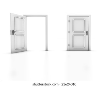 3D render of two doors isolated on white background. Concept: Choice, Exit.