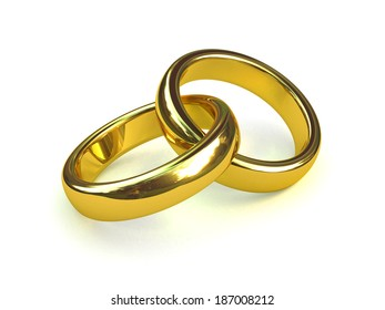 3d render of two gold rings