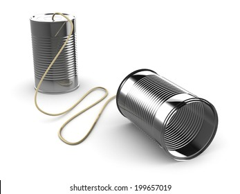 3d render of two tin cans connected by string