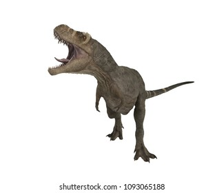 3D render of a Tyrannosaurus Rex in aggresive pose with mouth open.
