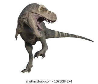 3D render of a Tyrannosaurus Rex attacking with mouth open.