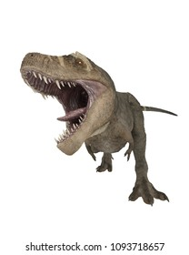 3D render of a Tyrannosaurus Rex with mouth open.