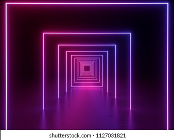 3d render, ultraviolet neon square portal, glowing lines, tunnel, corridor, virtual reality, abstract fashion background, violet neon lights, arch, purple pink vibrant colors, laser show