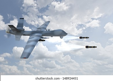 3d render of an unmanned aerial vehicle, or drone, launching laser guided missiles, against a cloudy sky background.