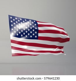 3d render: Us Flag Waving