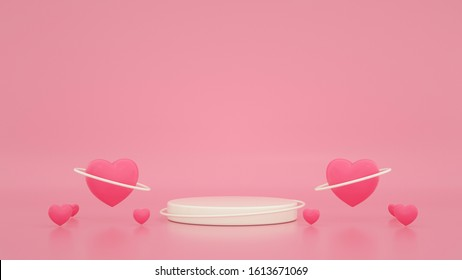 3d render of valentine and design composition. Abstact 3d geometric shapes backdrop for holiday concept. 3d pink background with balloons. Round stage podium. Balloons and gifts