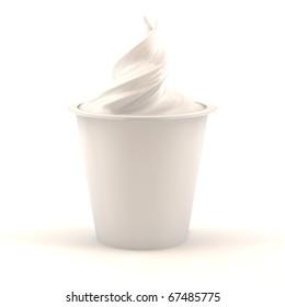 3d render of vanilla yogurt jar isolated over white background