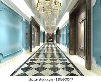 3d render vintage hotel corridor entrance