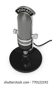 3d render of vintage microphone with podcast text over white