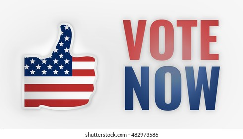 3d render vote now america USA thumbs up design