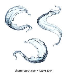 3d render, water splash, clear wave, curvy jet, pure liquid clip art, elements set isolated on white background