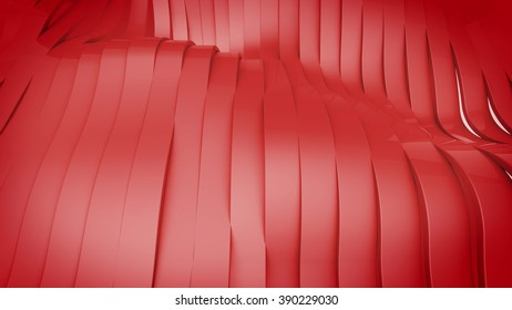 3D render of Wavy band surface. Modern Background.
