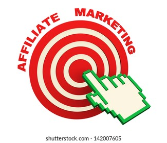 3d render of web online affiliate marketing concept. Hand icon cursor clicking on target.