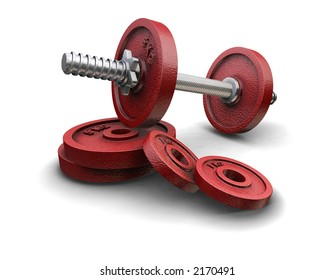 3D render of weight lifting weights
