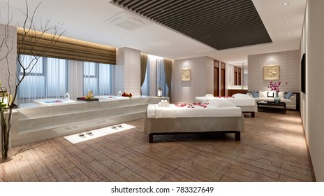 3d render of wellness spa and massage room