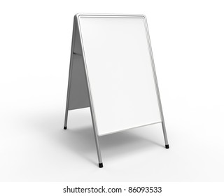 3d render of a white advertising stand on a white background