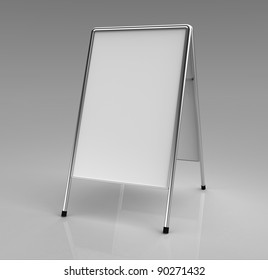 3d render of a white advertising stand on a grey shiny background