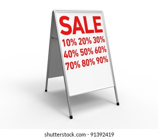 """3d render of a white advertising stand on a white background with the inscription """"sale"""" and a lots of discount rates"""