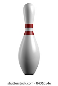 3d render of a white bowling pin with red stripes isolated on white background